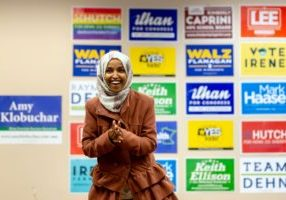 Democratic congressional candidate the Midterm elections, Ilhan Omar, speaks to a group of volunteers in Minneapolis, Minnesota, on October 13, 2018. - Somali-American state legislator Ilhan Omar claimed victory in her primary in Minnesota in August, putting her on track to become one of the first female Muslim members of the US House of Representatives. (Photo by Kerem YUCEL / AFP)        (Photo credit should read KEREM YUCEL/AFP/Getty Images)